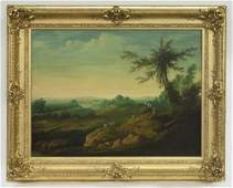 French oil on canvas depicting shepherds
