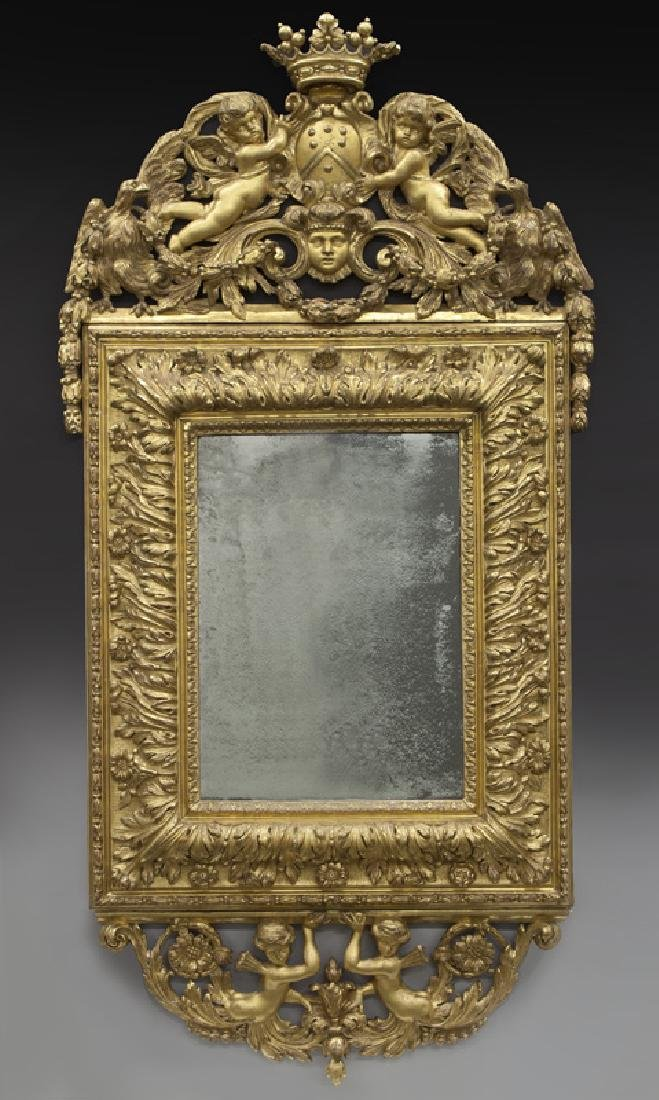 18th C. French gilt carved mirror