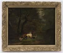 G De Voghel Hirte mit Vieh in Waldlandschaft