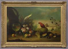 French School oil on canvas still life depicting