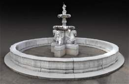 Large cast stone garden fountain