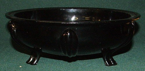 "3: Black amethyst footed bowl 9"""