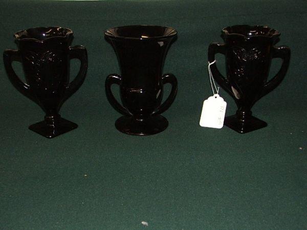 "6: Black amethyst lot of 3 trophy vases APROX 7 1/2"""