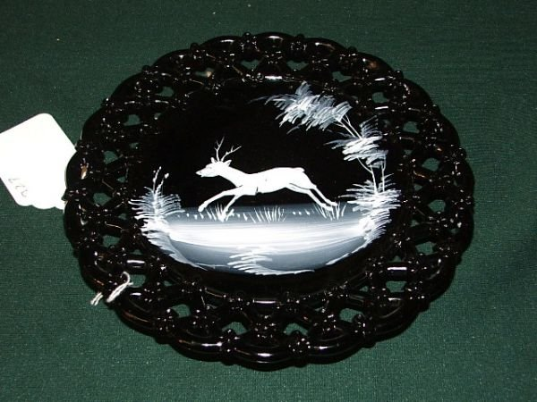 8: Black amethyst plate w/ Mary Gregory like painting