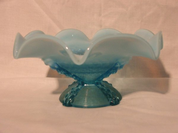 24: Blue Opalescent Glass Compote, Fluted & Footed