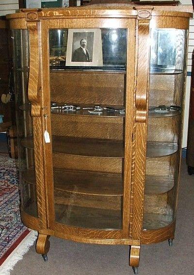 266: AntiqueAmerican oak china cabinet