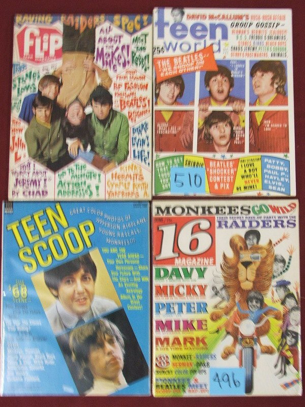 4: TEEN RELATED MAG. THE BEATLES, THE MONKEE….