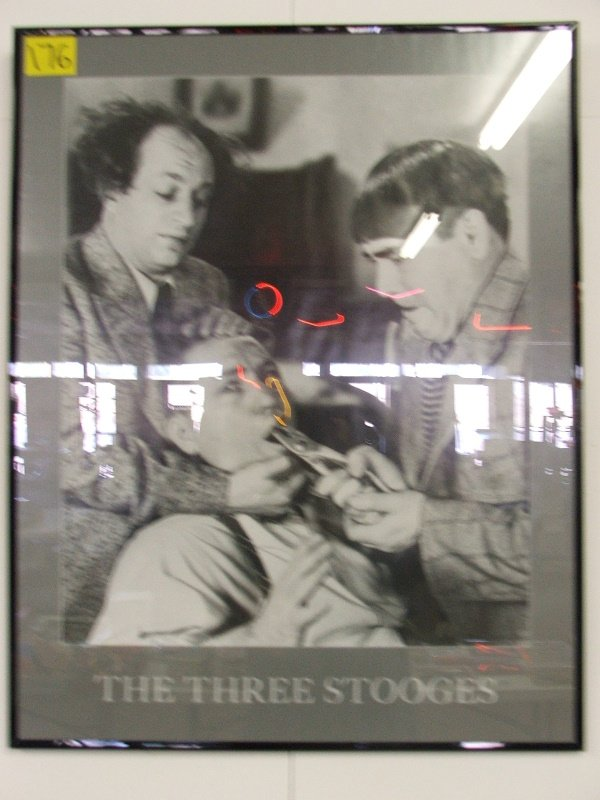 """17: FRAMED POSTER """"THE THREE STOOGES"""" 22"""" X 28"""""""