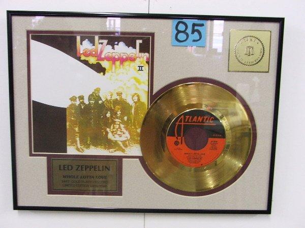 """463: FRAMED ALBUM """"LED ZEPPLIN"""" WHOLE LOT OF LOVE GOLD"""