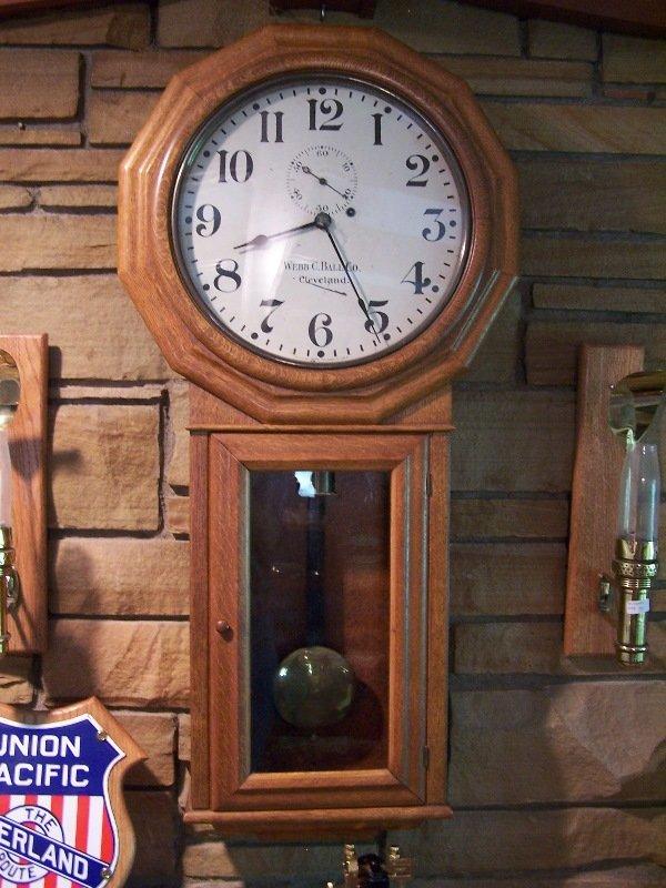 """1019: Clock; oak case; 41"""" L; one wgt. Regulator; """"Webb"""