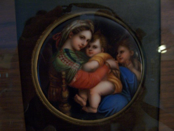 """1021: Painting on porcelain; 4"""" dia.;woman and children"""