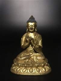 18 Century Sino-Tibetan Gilt Bronze Figure of Buddha