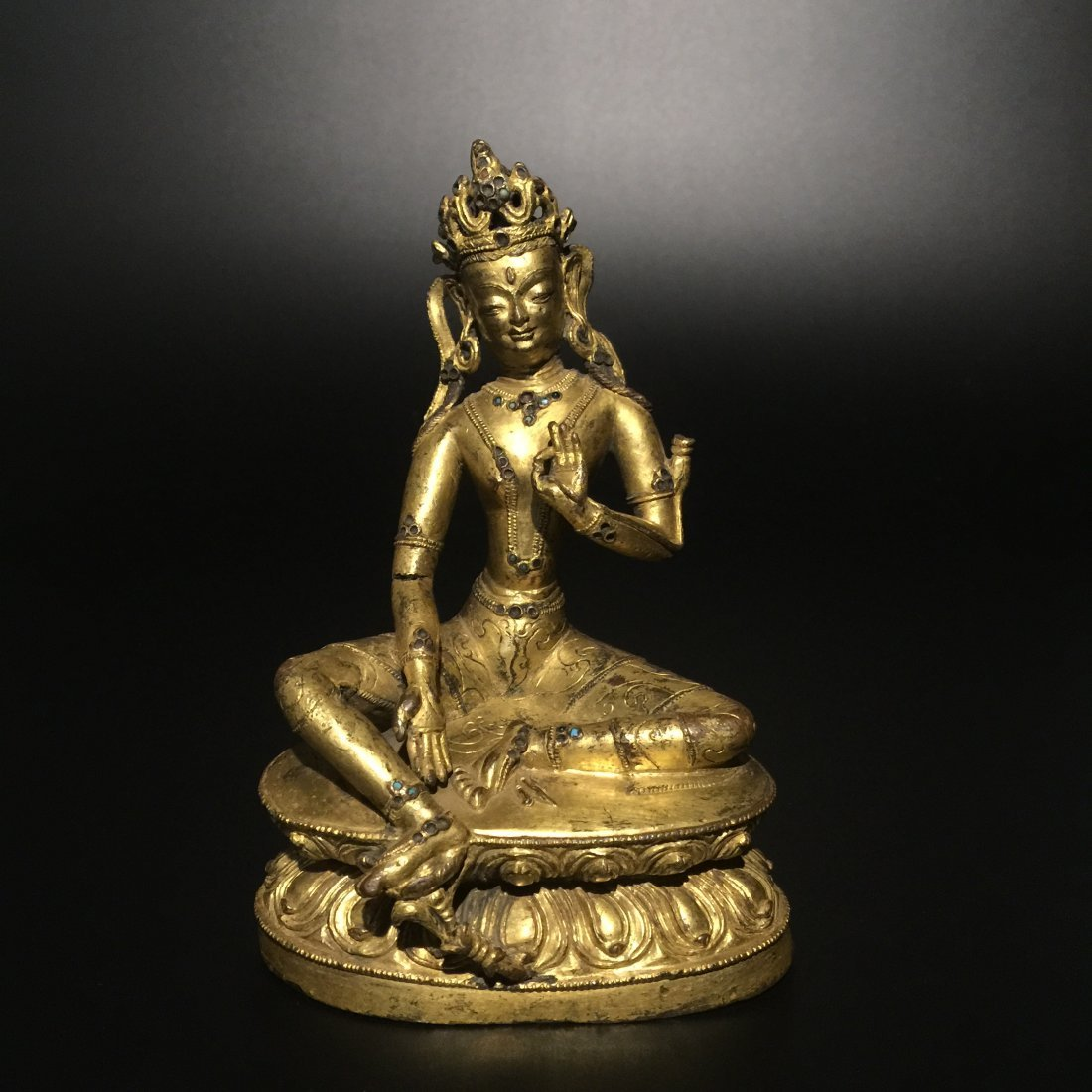 Sino-Tibetan Gilt Bronze Figure of Tara Buddha