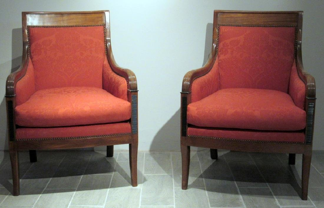 Pair Empire Style Library Arm Chairs