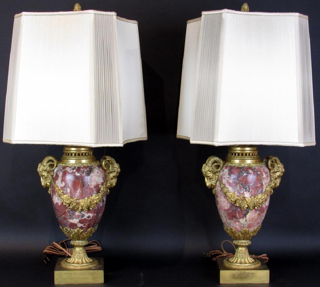 Pair French Bronze Mounted Marble Lamps