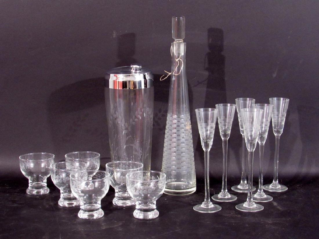2 - 7 Piece Etched Glass Bar Sets