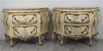 Pair Swedish Style Painted Commodes