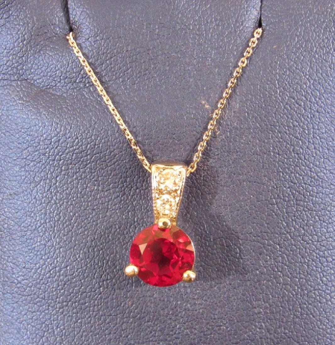 14K Gold, Ruby and Diamond Pendant Necklace