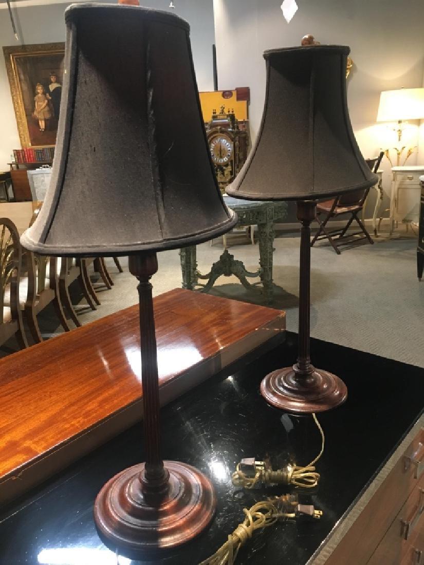 Pair George III walnut candlesticks lamps