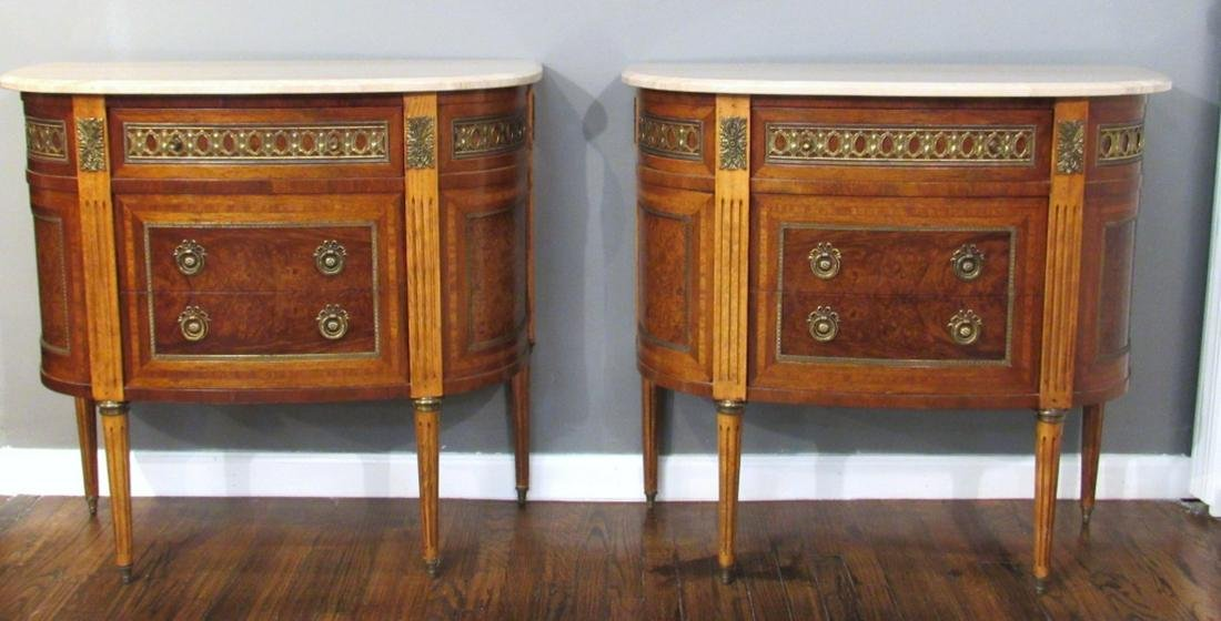 Pair Neoclassical Style Marble Top Commodes