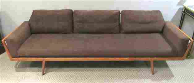 Mid Century Long Walnut Settee/Sofa