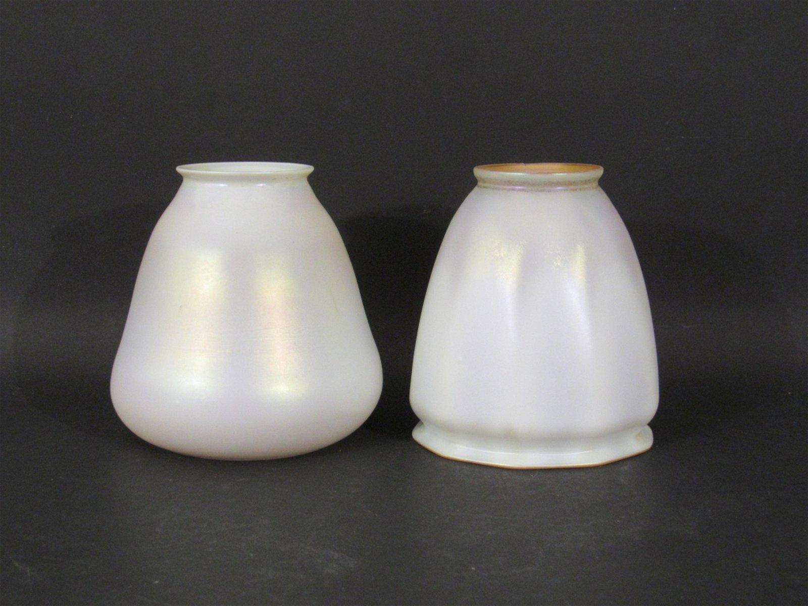 2 Quezal Art Glass Shades
