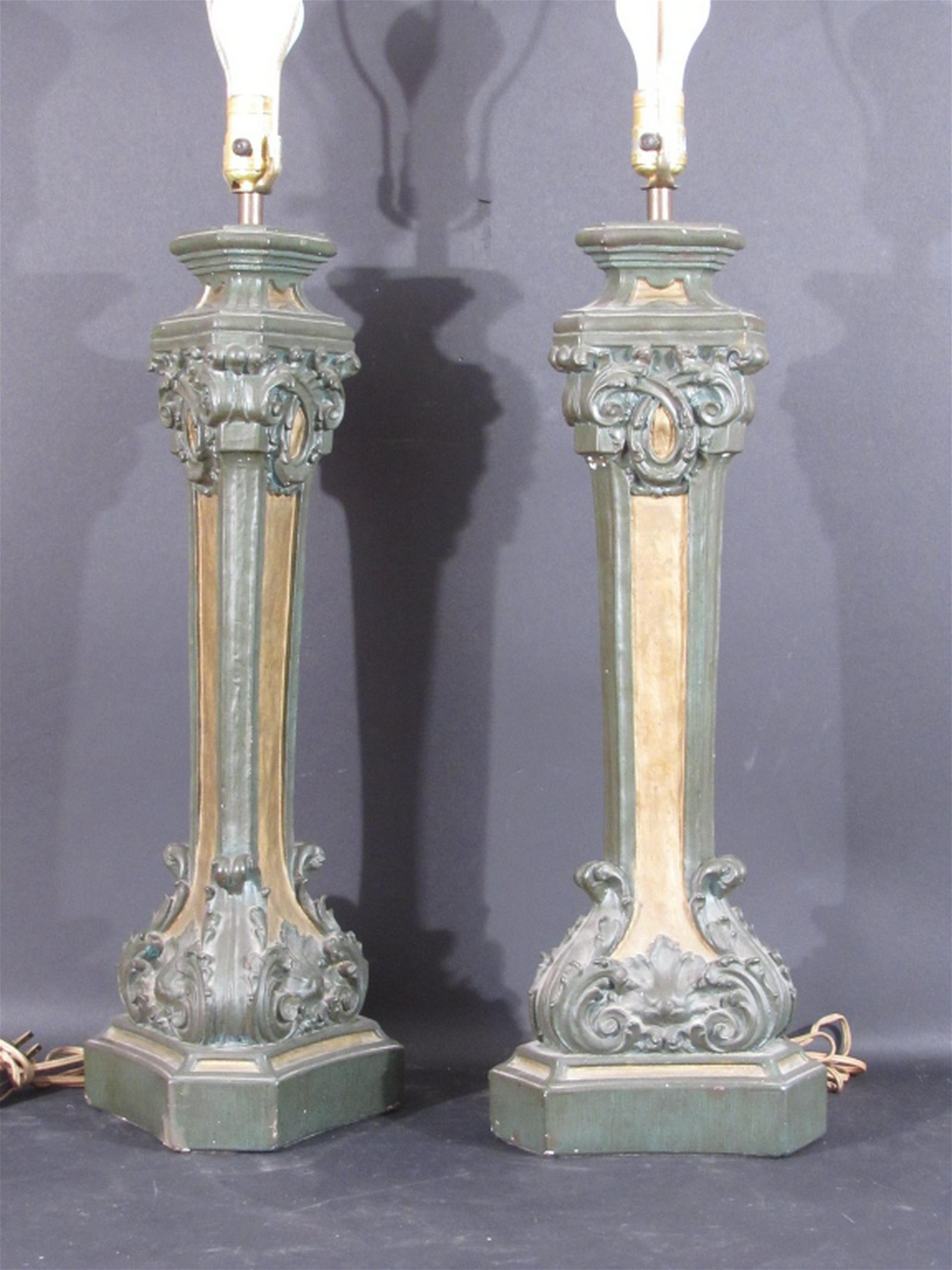 Pair Italian Style Columnar Lamps