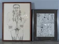 Rex Clawson (American, 1929-2007) - 2 Drawings