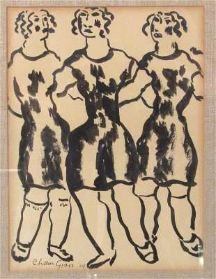 Chaim Gross (1904-1991) Watercolor