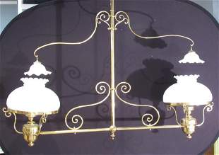 Large Vintage Brass Billiards Fixture