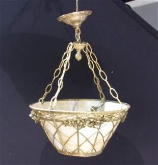 Bronze Frame Basket Form Chandelier