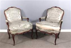 Pair Important 18th C. Signed French Fauteuil