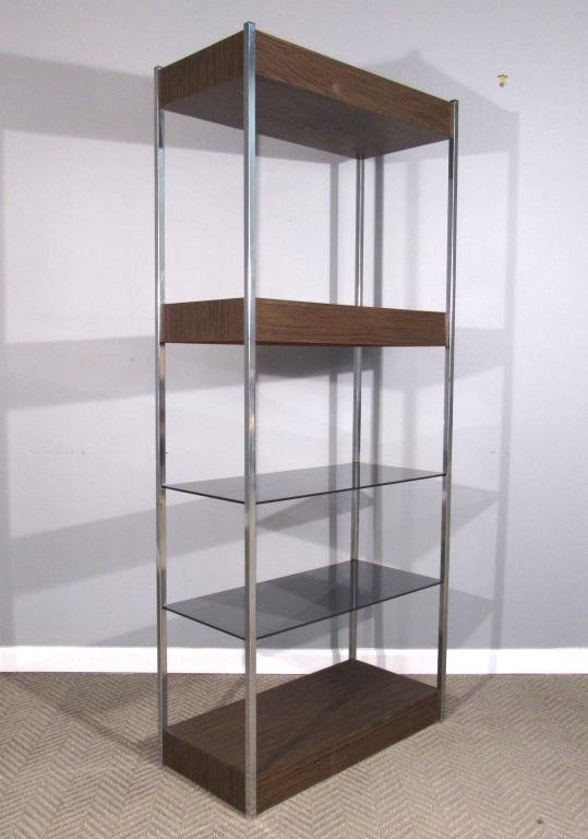 Mid Century Chrome and Glass Etagere