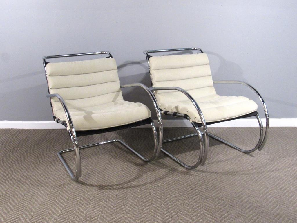 Pair Mies Van Der Rohe By Alivar 325 Chairs