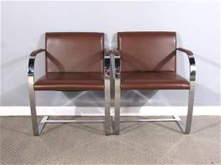 Pair Alivar Leather Chrome Chairs