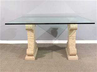 Limestone Double Pedestal Base Center Table
