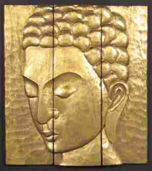 Large Buddha / Quan Yin Gilt Carved Art Panel