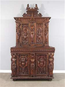 Antique English Gothic Tall Cabinet