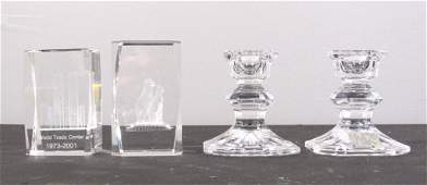 Crystal - 2 Paperweights and Pair Candlesticks