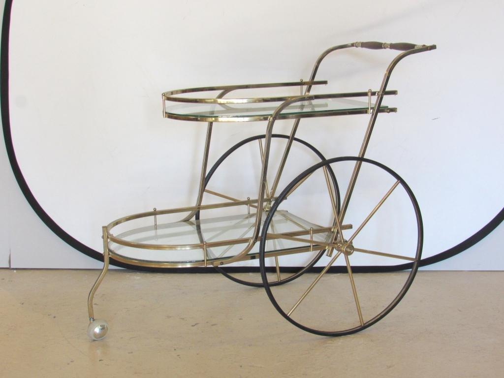 Mid Century Brass 2 Tier Bar / Serving Cart