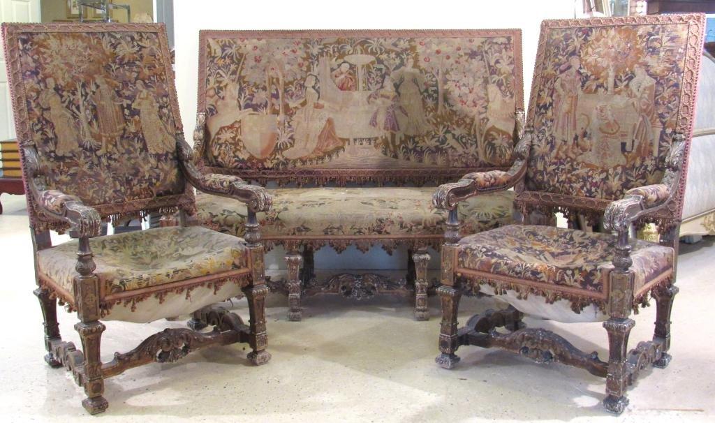 3 Piece Antique Louis XIV Style Salon Suite