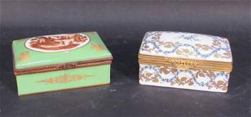 2 French Porcelain Vanity Boxes