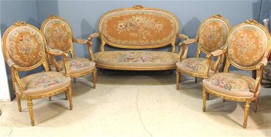 5 Piece Aubusson Upholstered Salon Suite