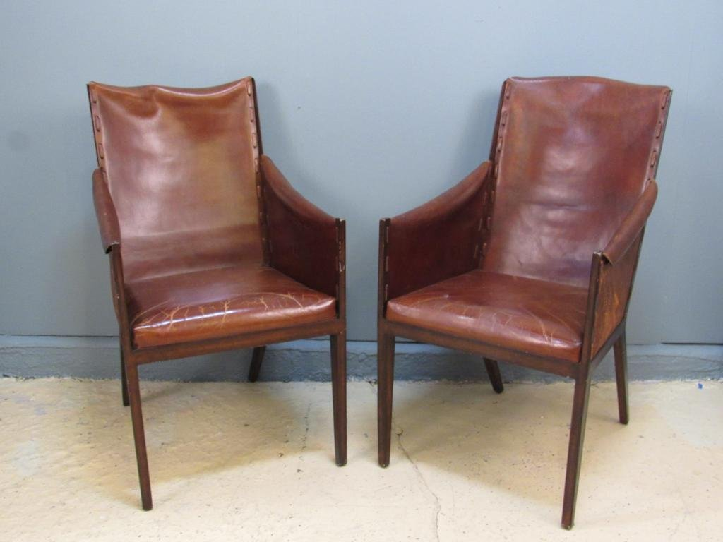 Pair Jean Michel Frank Style Arm Chairs