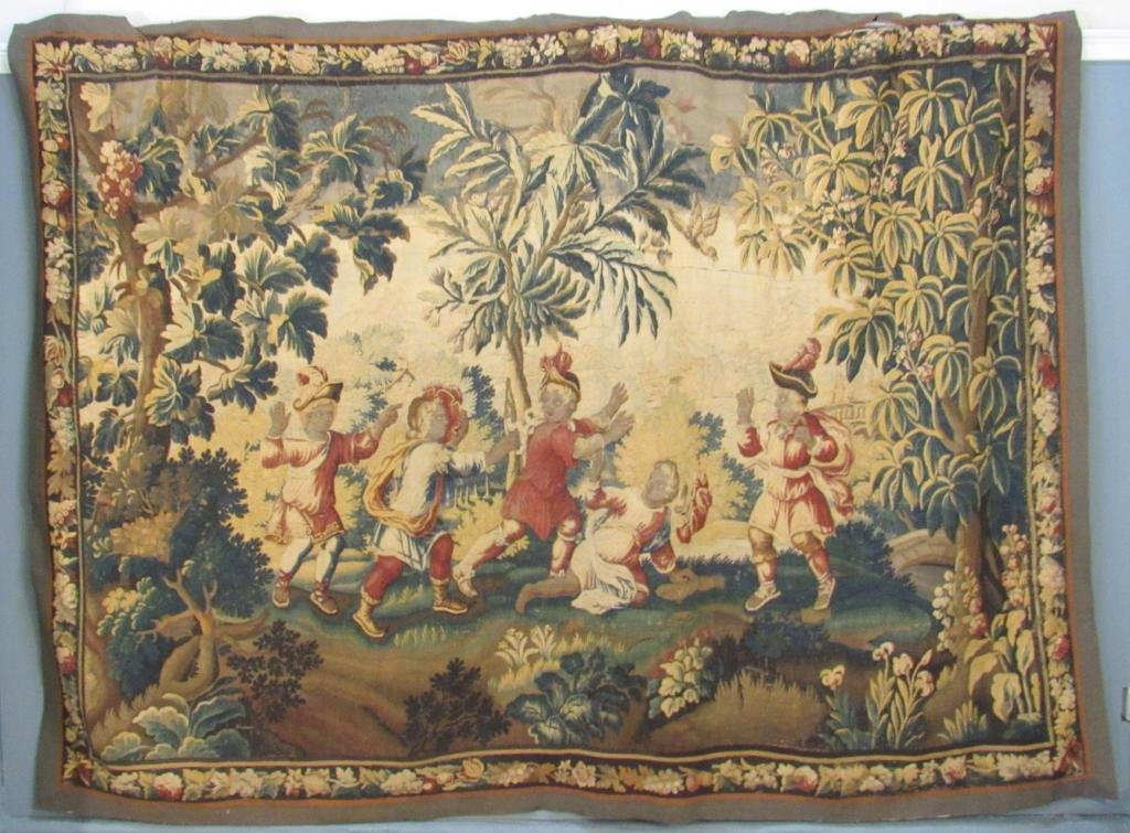 Large Antique Aubusson Figural Tapestry