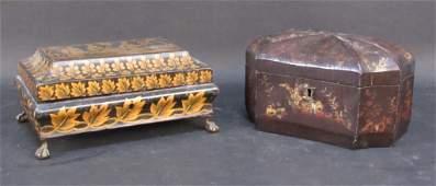 2 Antique Regency Decorated Boxes