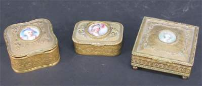 3 French Gilt Metal Vanity Boxes