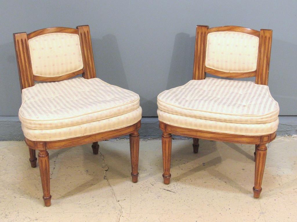 Pair Louis XVI Style Slipper Chairs