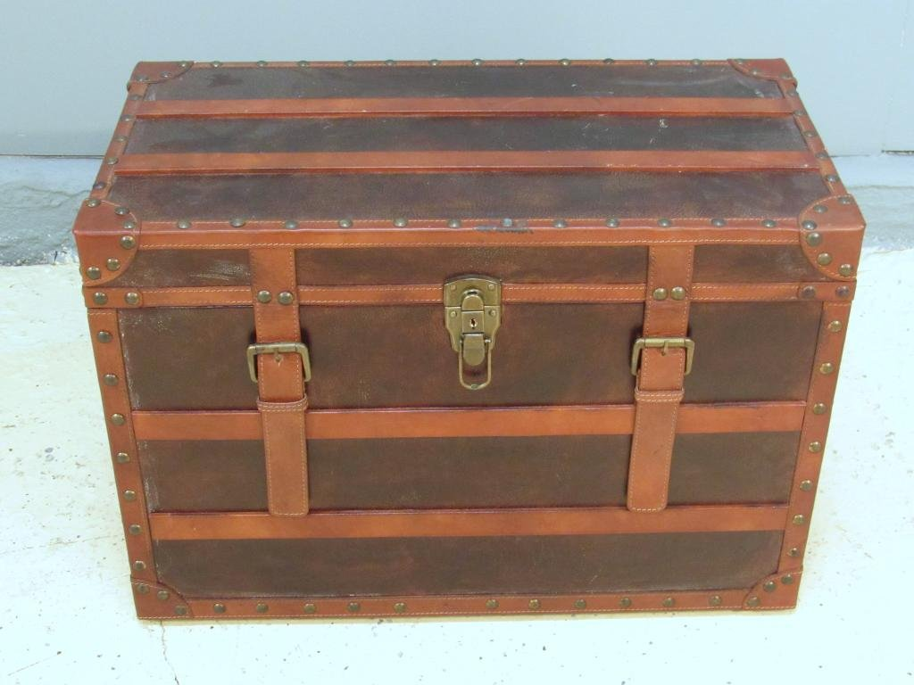 Decorative Small Leather Strapped Trunk