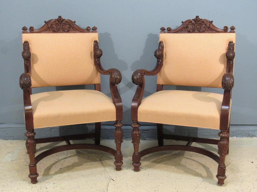 Pair Old English Style Open Arm Chairs
